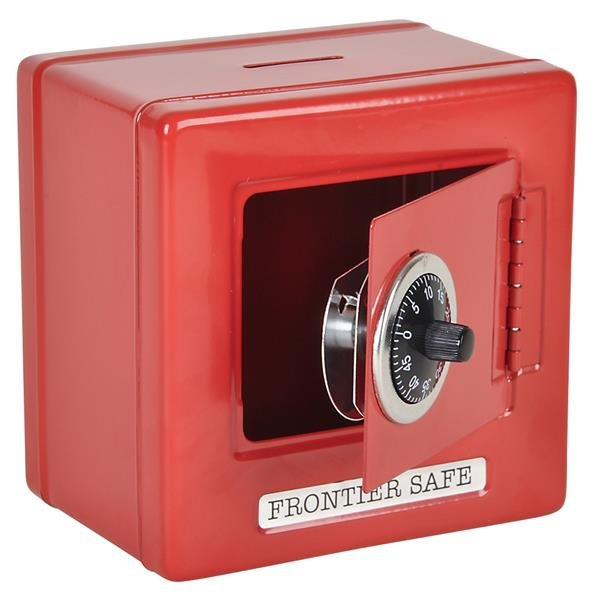 """Red 6"""" Metal Frontier Combination Safe Bank with Coin Slot"""