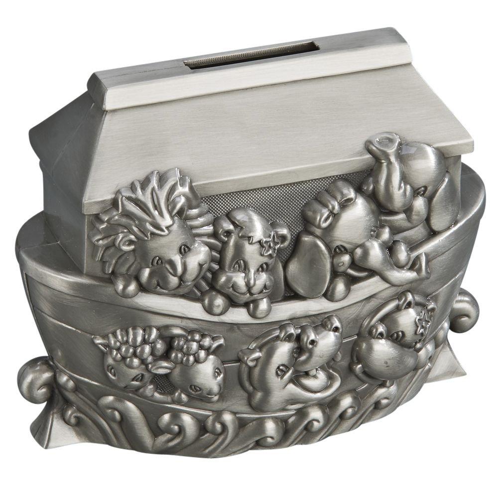 Noah's Ark Pewter Engravable Safe Piggy Bank with Coin Slot