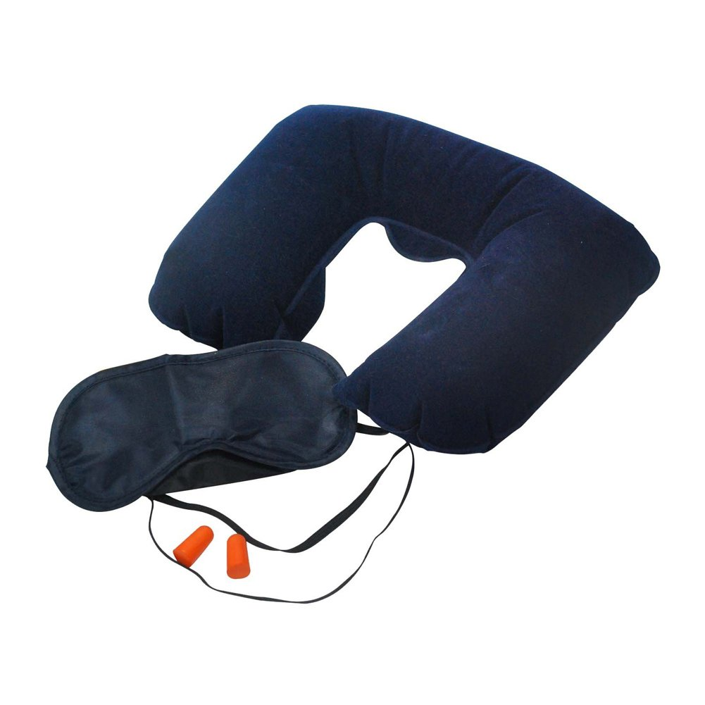 3pc Travel Set Neck Pillow Eye Mask And Ear Plugs