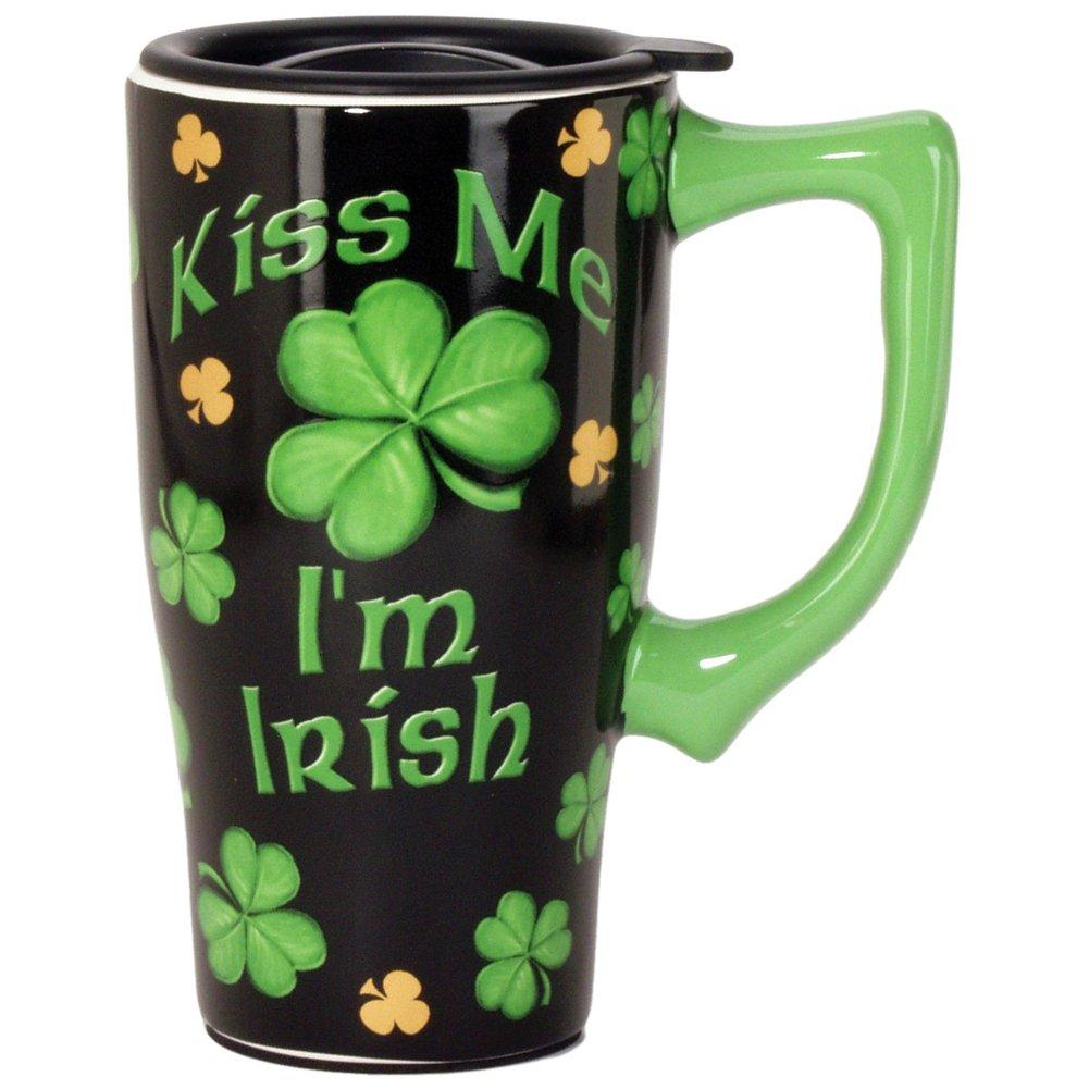Kiss Me I'm Irish Travel Mug, Black