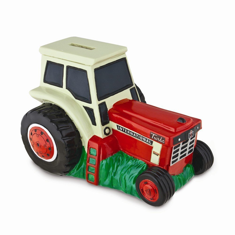 Polyresin Red/White International Harvester Tractor Bank