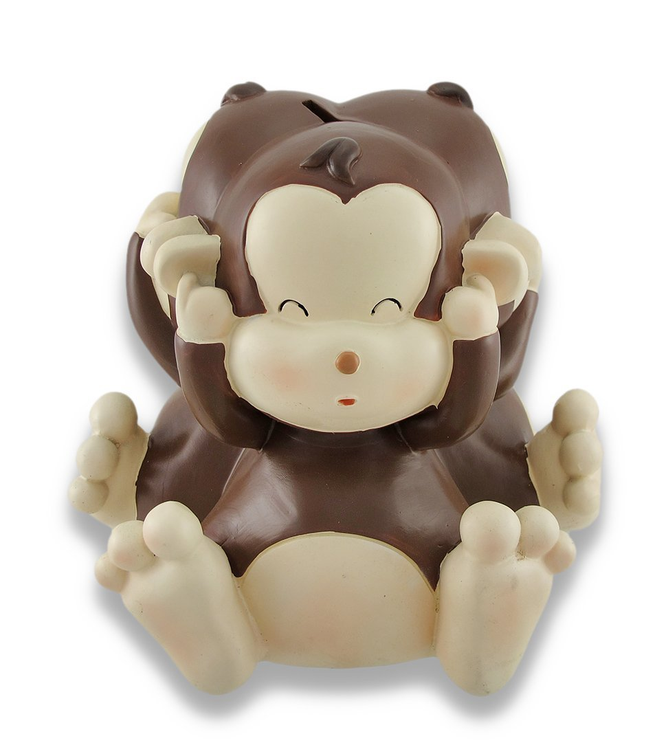 Baby Monkey See, Speak, Hear No Evil Coin Bank 8.5 In.