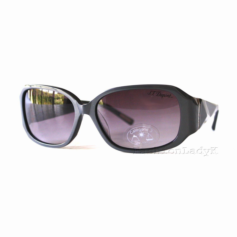 S.T. Dupont Women Black Frame Gray Lens Sunglasses DP9510 001 New w/ Case