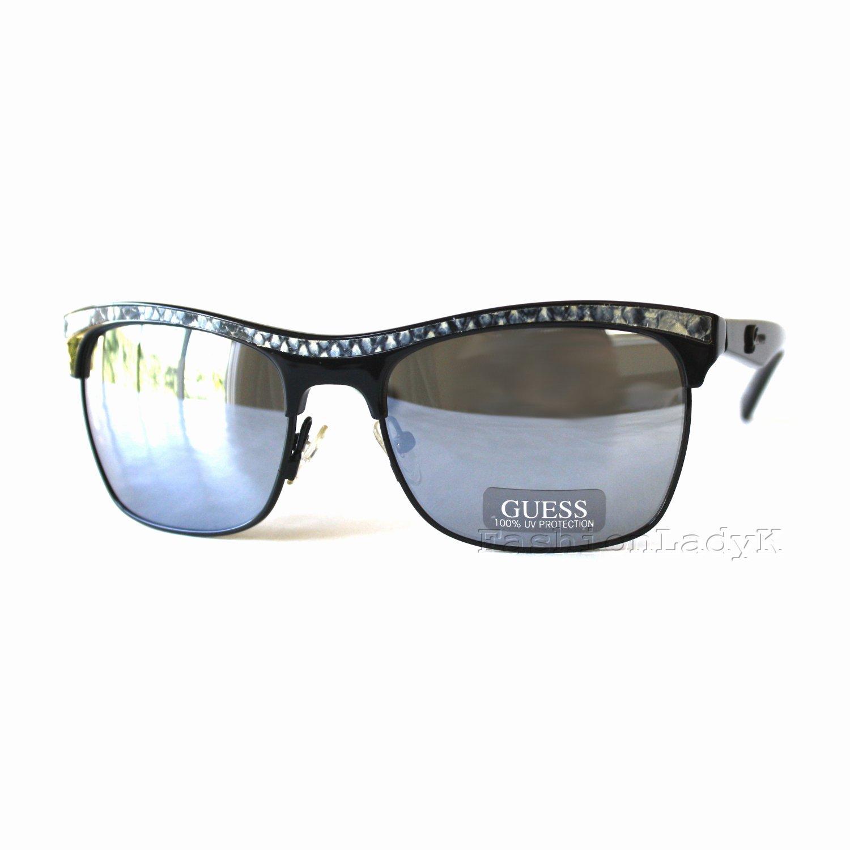 GUESS Women Black Frame Gray Lens Sunglasses GU7137 BLK-3F New w/ Case