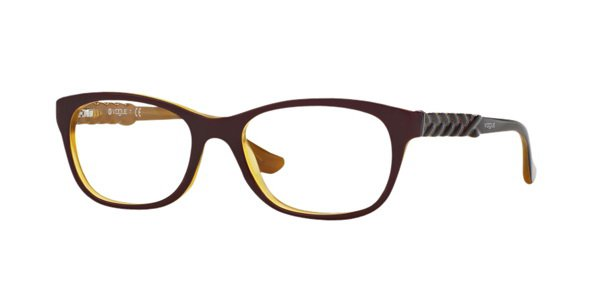 Vogue Maroon Brown Yellow Optical Eyeglasses Frame VO2911 2287 51mm New w/ Case