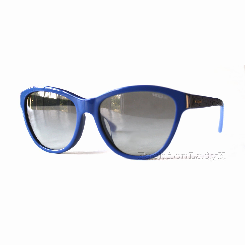 VOGUE Women Blue Frame Gray Lens Sunglasses VO2993-SF 2356-11 New w/ Case