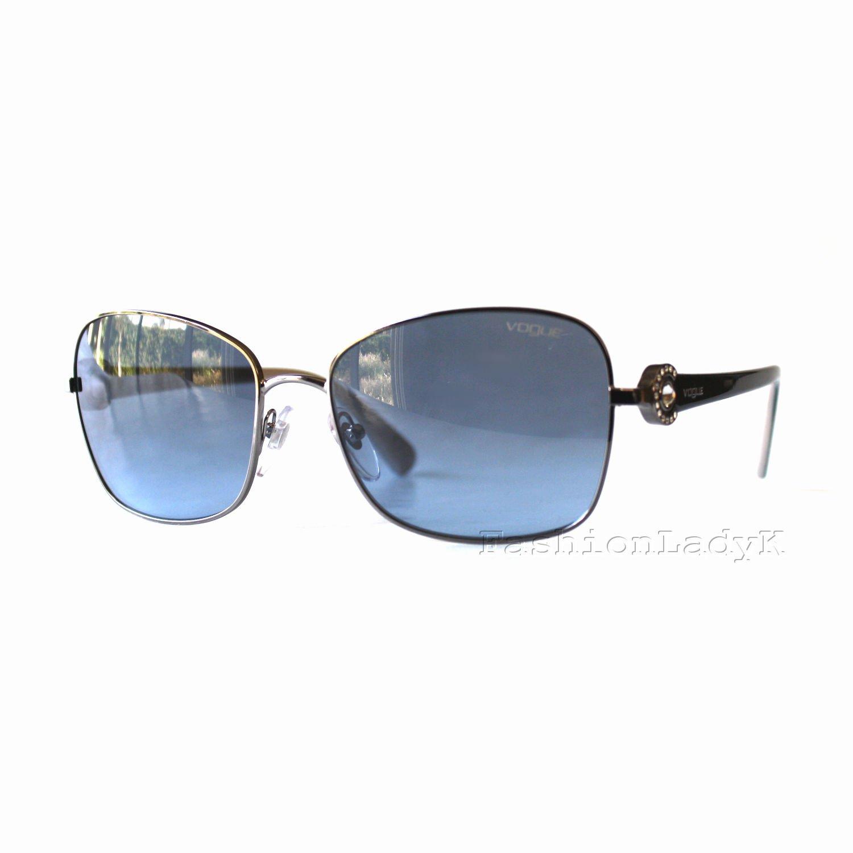 New VOGUE Women Silver Black Crystal Decor Frame Blue Lens Sunglasses VO3982-SB