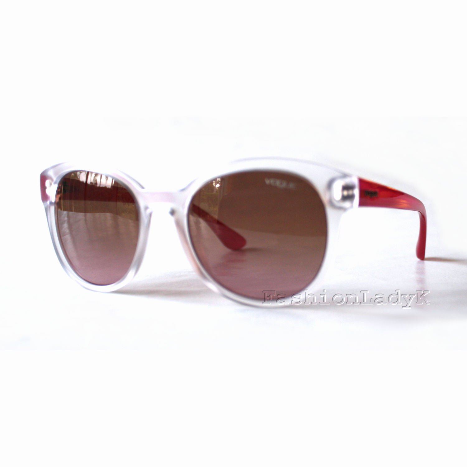 New Authentic VOGUE Women's Pink Red Transparent Sunglasses VO2795-S W745