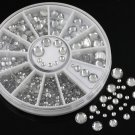 6 Size 200pcs Nail Art 3D Crystal Glitter Rhinestone Tips Decoration Wheel