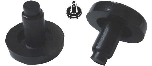 """12 Nylon Flat Stem 3/4"""" Bumpers for Tubular Bases - Black"""