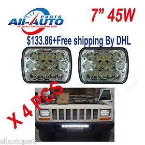 """2 Pair 7x6"""" LED LIGHT BULBS CRYSTAL CLEAR SEALED BEAM HEADLAMP HEADLIGHT BY DHL"""
