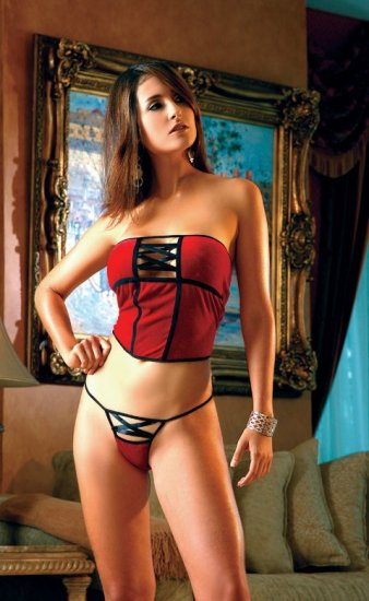 Stretch velvet strapless short corset and thong