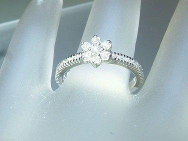 Cluster Flower Diamond Engagement Band Ring White Gold 18kt