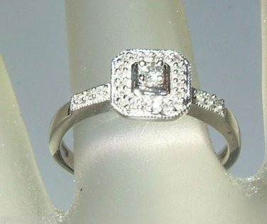 Diamond Halo Engagement Ring White Gold 10kt