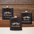 Personalized Black Matte Mustache Flask
