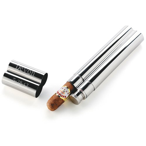 Personalized Stainless Steel Cigar Case/Flask Combo