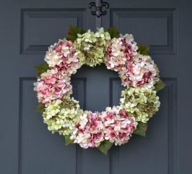 Green Blended Hydrangea Wreath   Spring Wreath   Summer Wreath  Housewarming Gift