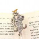 Silver Bookmark Cat with flower