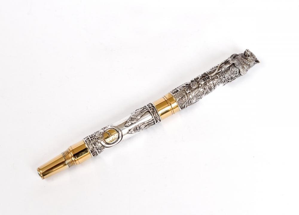 "Silver Pen ""Wolf"" with Diamond"