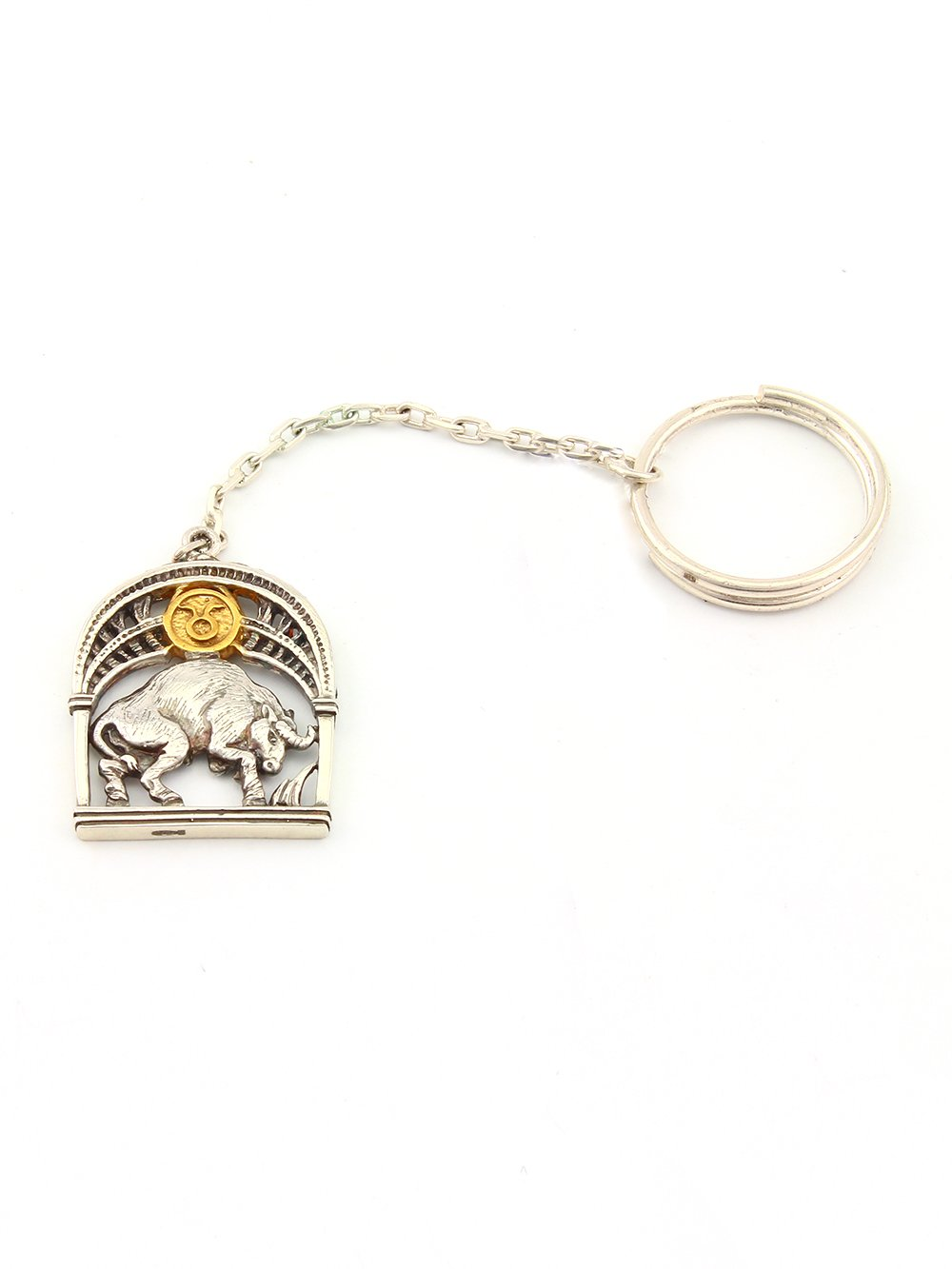 """Silver Key chain with Signs of the Zodiac """"Taurus"""""""