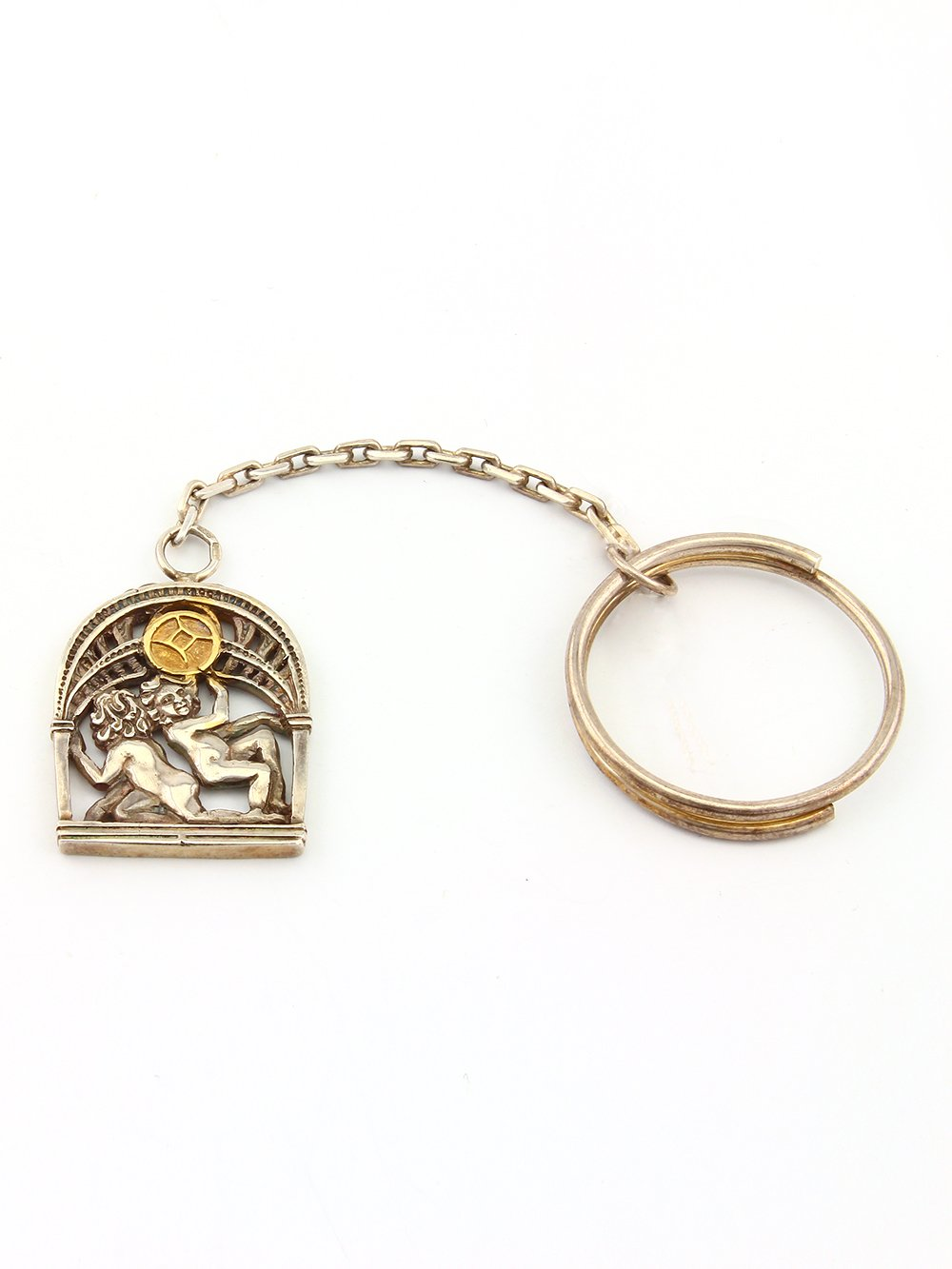 """Silver Key chain with Signs of the Zodiac """"Gemini"""""""