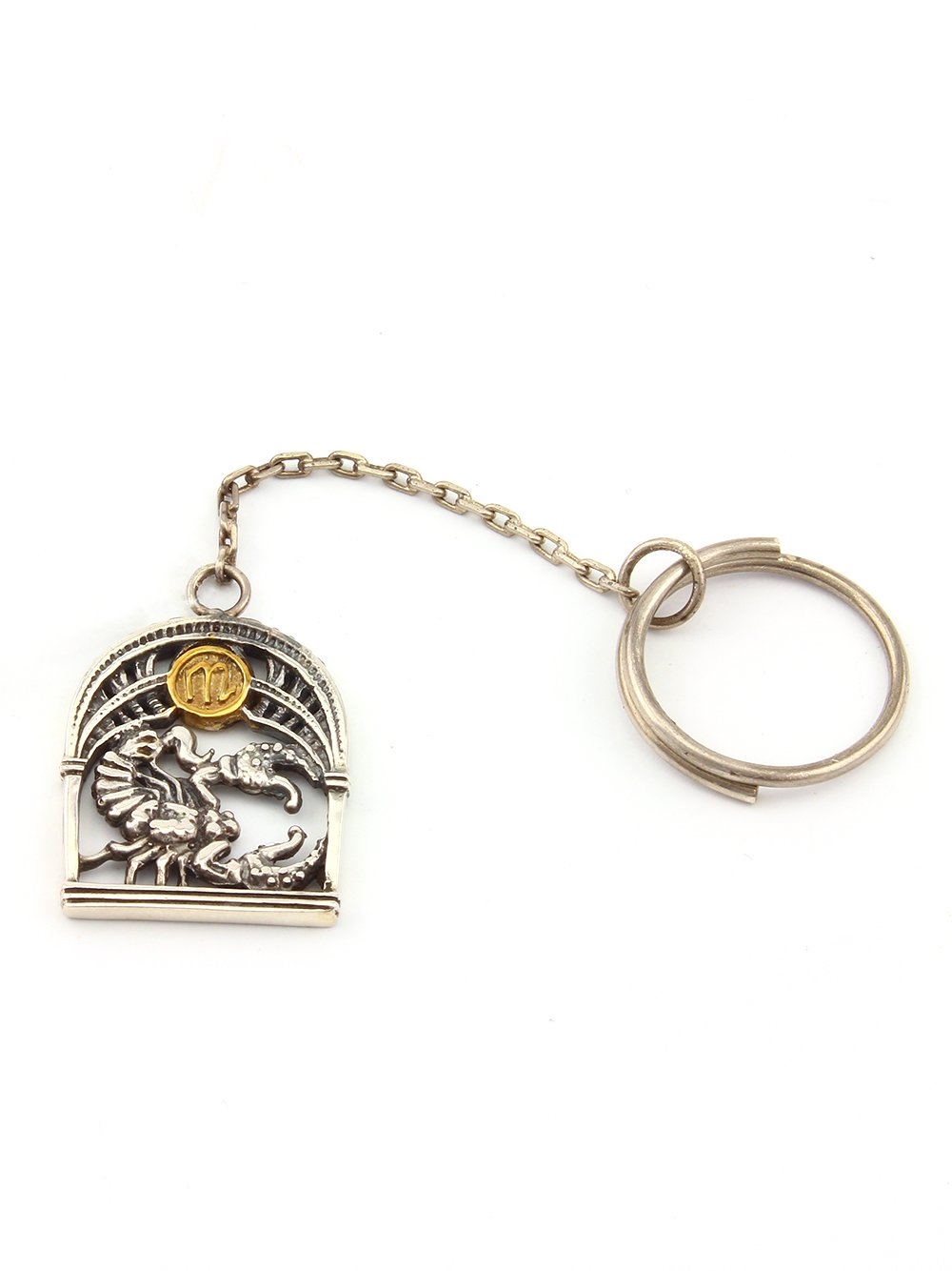 """Silver Key chain with Signs of the Zodiac """"Scorpio"""""""
