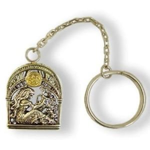 """Silver Key chain with Signs of the Zodiac """"Aquarius"""""""