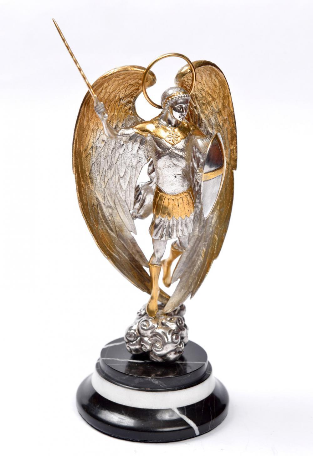 "Silver Statue figurine ""Saint Michael"""