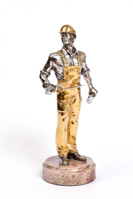"Silver Statue figurine ""Builder"""