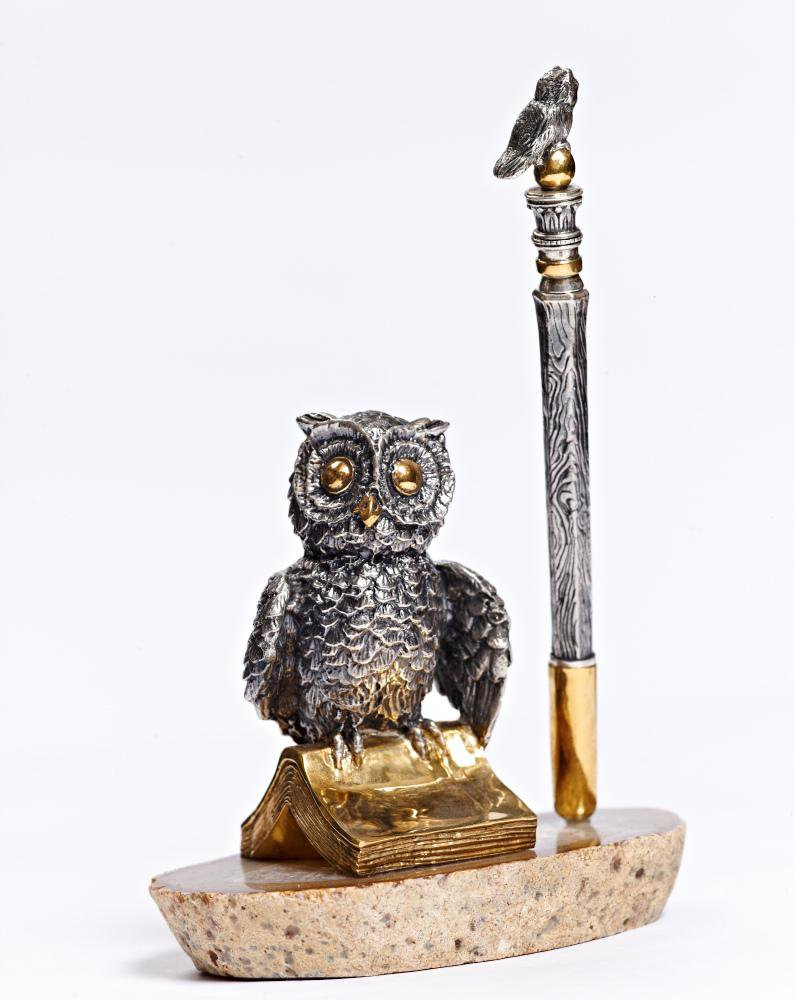 "Silver Pen holder ""Wise owl"""