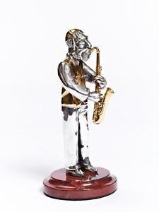 """Silver Figurine """"Jew with saxophone"""""""