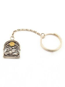 """Silver Key chain with Zodiac Horoscope Astrology Sign """"Cancer"""""""