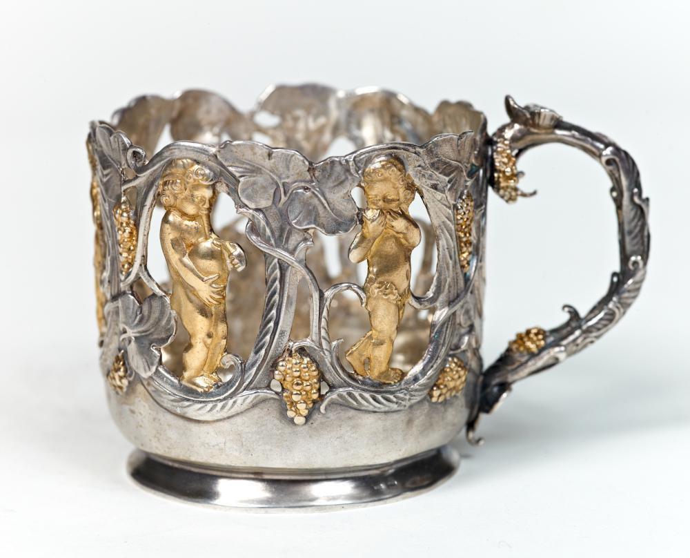 "Silver Tea Glass Cup Holder Podstakannik "" Vine"""
