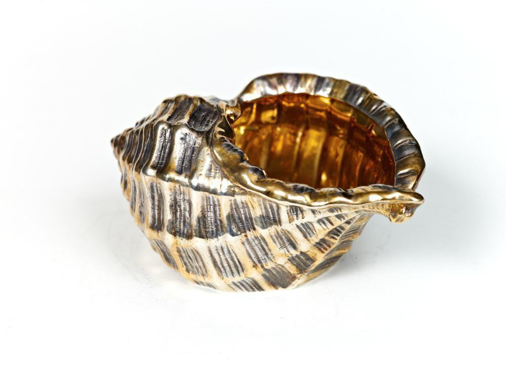 "Silver caviar plate bowl ""Sea-shell"""