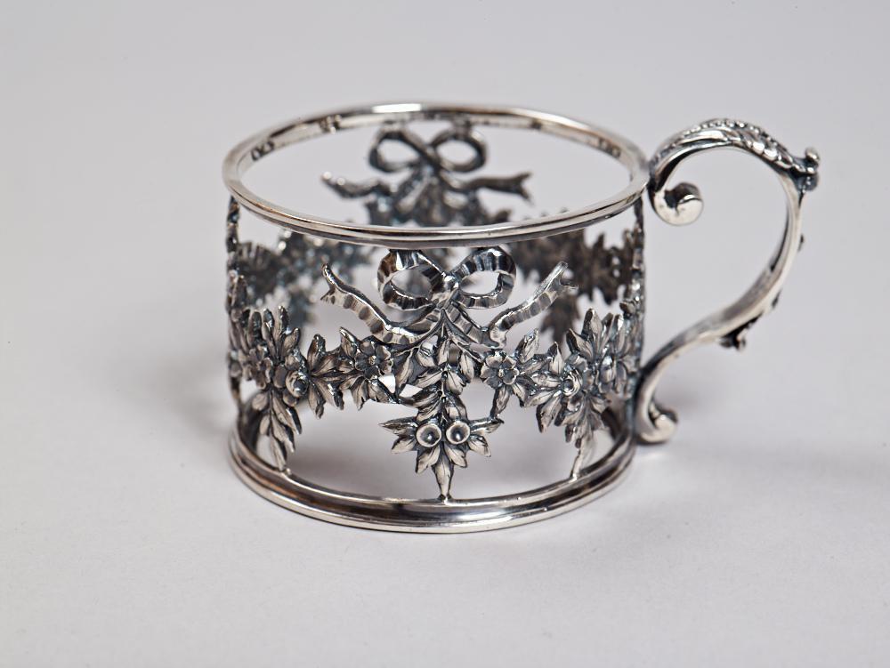 "Silver Tea Glass Cup Holder Podstakannik ""Bow"""
