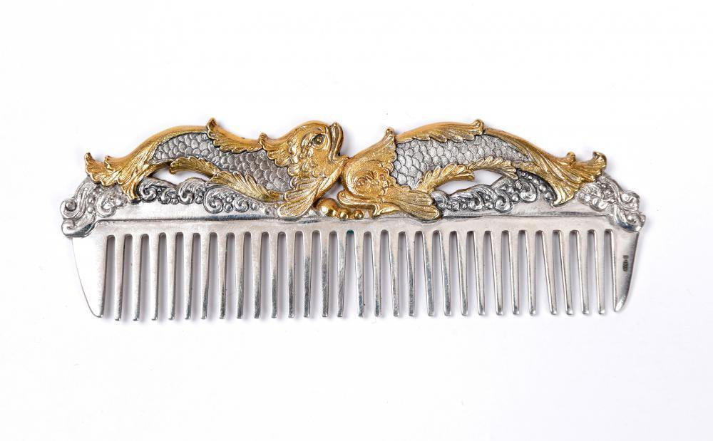 "Silver Hair comb ""Fish"""