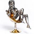 """Silver Figurine """"Girl on armchair"""""""