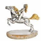 "Silver Statues ""Girl on horse"""