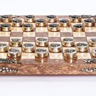 "Silver Board game checkers ""Rats against Ravens"""