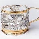 "Silver Tea Glass Cup Holder Podstakannik ""Locomotive"""