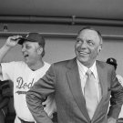FRANK SINATRA IN THE DODGERS DUGOUT WITH MGR TOMMY LASORDA - 8X10 PHOTO (EP-998)