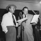 BOB HOPE & BING CROSBY IN 1945 RADIO BROADCAST - 8X10 PUBLICITY PHOTO (EP-712)