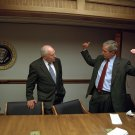 GEORGE W BUSH WITH DICK CHENEY IN PEOC ON SEPTEMBER 11, 2001 8X10 PHOTO (EP-632)