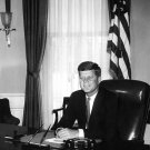 PRESIDENT JOHN F. KENNEDY AT DESK IN OVAL OFFICE - 8X10 PHOTO (AA-005)
