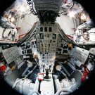 FISH-EYE LENS VIEW OF INTERIOR OF GEMINI 7 SPACECRAFT - 8X10 NASA PHOTO (AA-494)