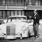 DR. WERNHER VON BRAUN ADMIRES HIS MERCEDES 220SE AUTOMOBILE 8X10 PHOTO (EP-164)