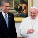 PRES. BARACK OBAMA AFTER PRIVATE AUDIENCE WITH POPE FRANCIS 8X10 PHOTO (DA-464)