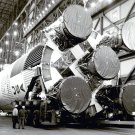 S-1C BOOSTER FOR APOLLO 11 SATURN V IN VAB - 8X10 NASA PHOTO (EP-338)