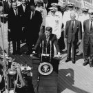 PRESIDENT KENNEDY ABOARD THE USGS TRAINING BARK 'EAGLE' - 8X10 PHOTO (AA-917)