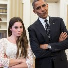 BARACK OBAMA WITH GYMNAST McKAYLA MARONEY 'NOT IMPRESSED' - 8X10 PHOTO (CC-035)